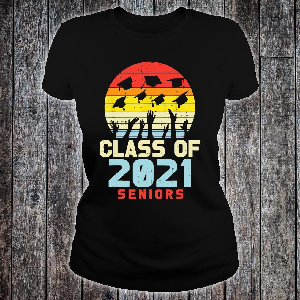 Class Of 2021 Seniors Retro Graduation College Shirt ladies tee