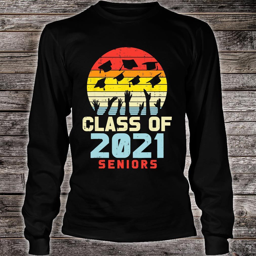 Class Of 2021 Seniors Retro Graduation College Shirt long sleeved