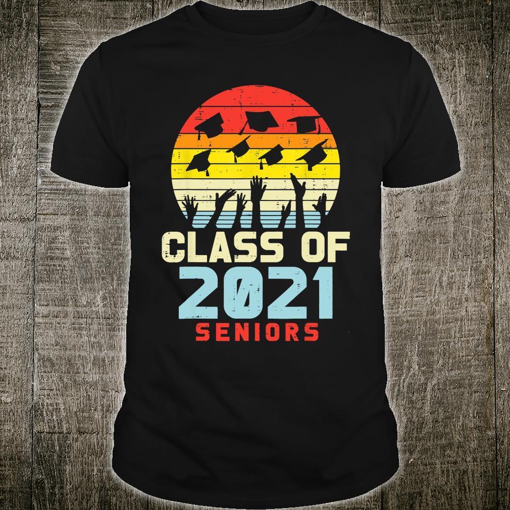 Class Of 2021 Seniors Retro Graduation College Shirt