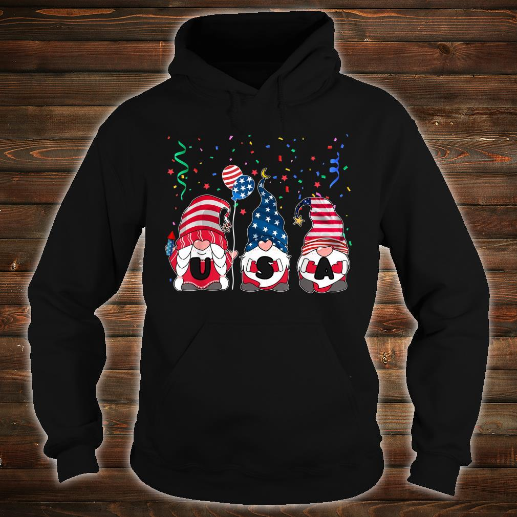 Three Gnomes Celebrating Independence USA Day 4th Of July Shirt hoodie