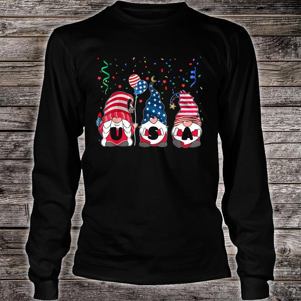 Three Gnomes Celebrating Independence USA Day 4th Of July Shirt long sleeved