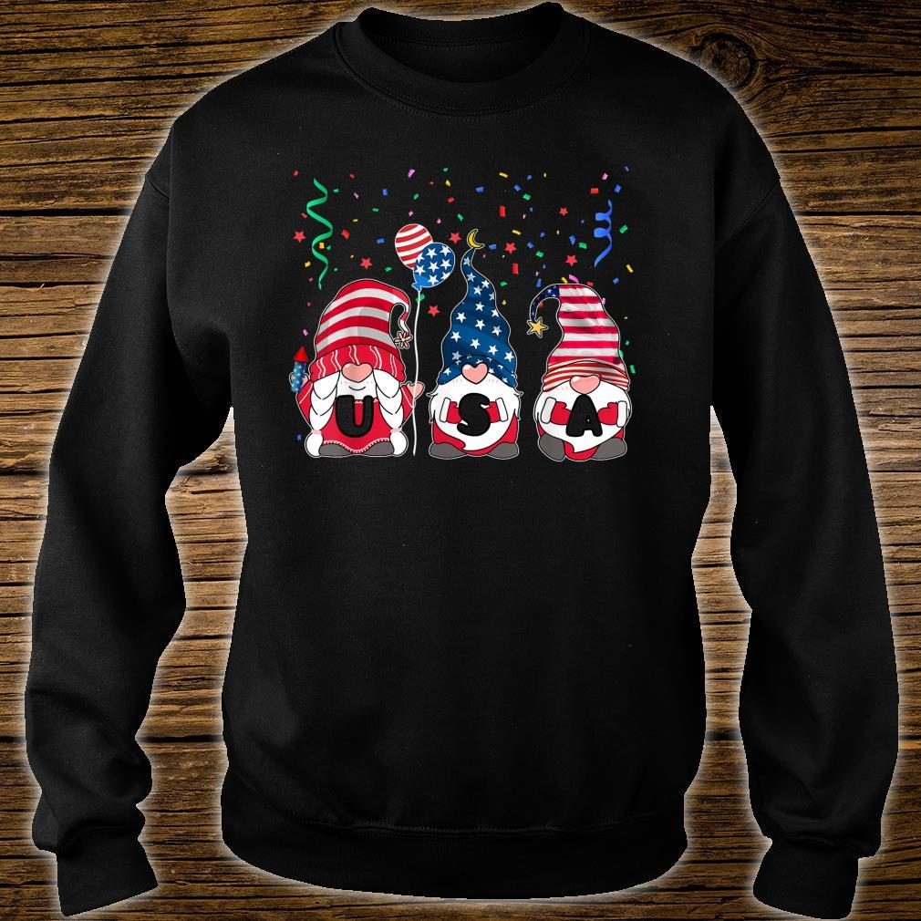 Three Gnomes Celebrating Independence USA Day 4th Of July Shirt sweater