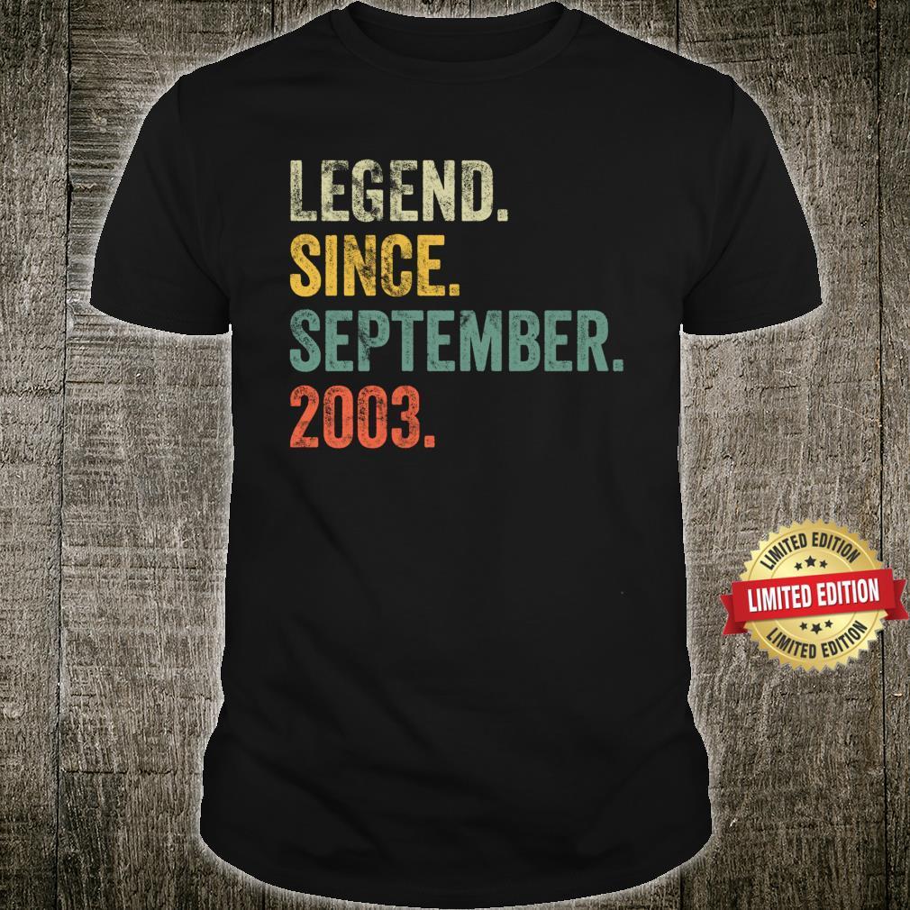 Vintage 2003 18th Birthday Legend Since September 2003 Shirt