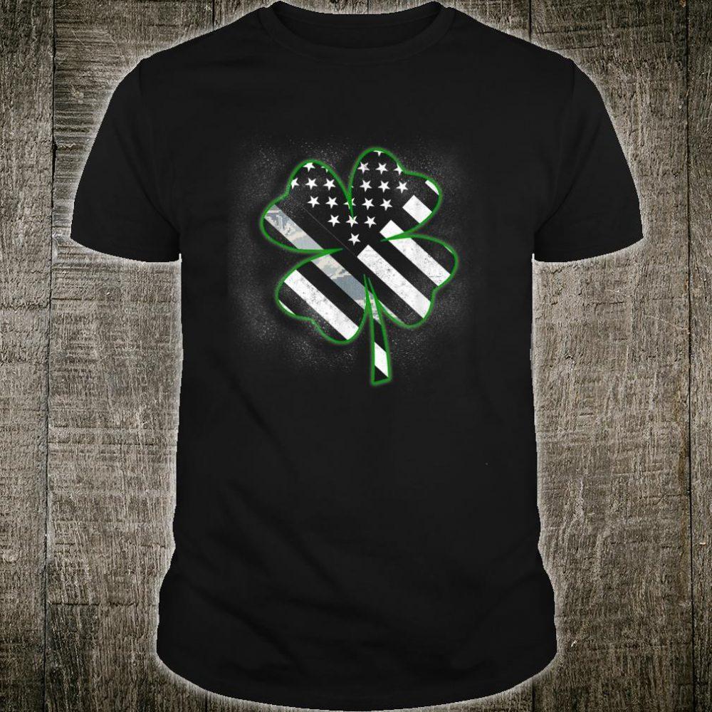 Air Force Veteran Thin Camo Line Flag St Patricks Day Clover Shirt
