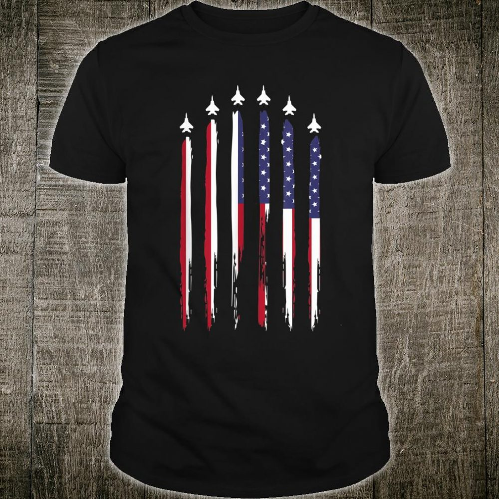 American Flag USA Airplane Jet Fighter 4th of July Patriotic Shirt
