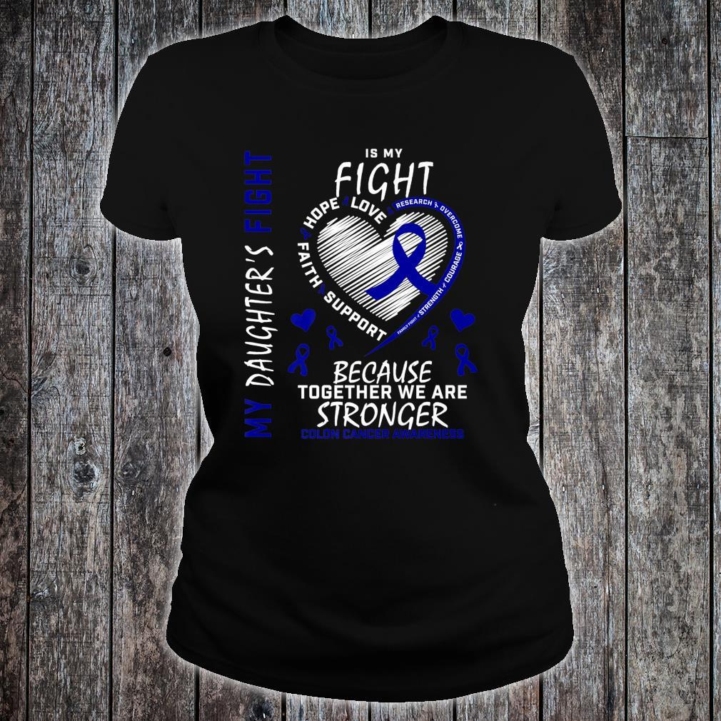 Mom Dad Blue Ribbon Daughter Fighter Colon Cancer Awareness Shirt ladies tee
