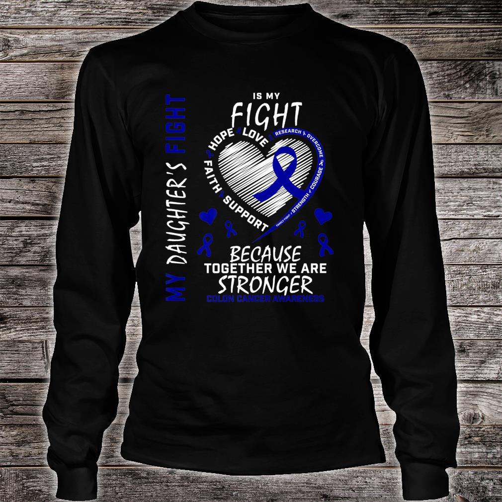 Mom Dad Blue Ribbon Daughter Fighter Colon Cancer Awareness Shirt long sleeved