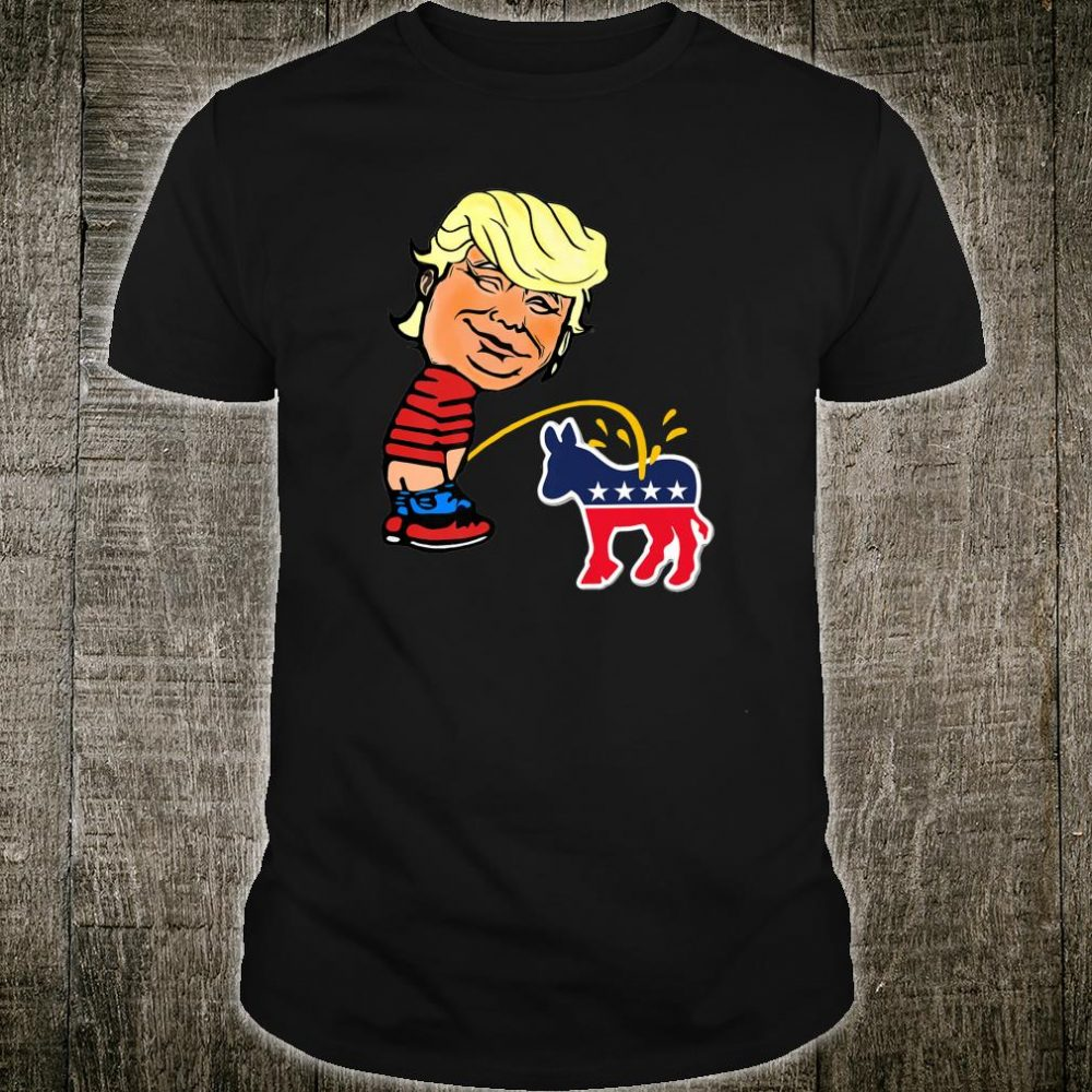 Naughty Donald Trump takes wizz on Democrats Shirt