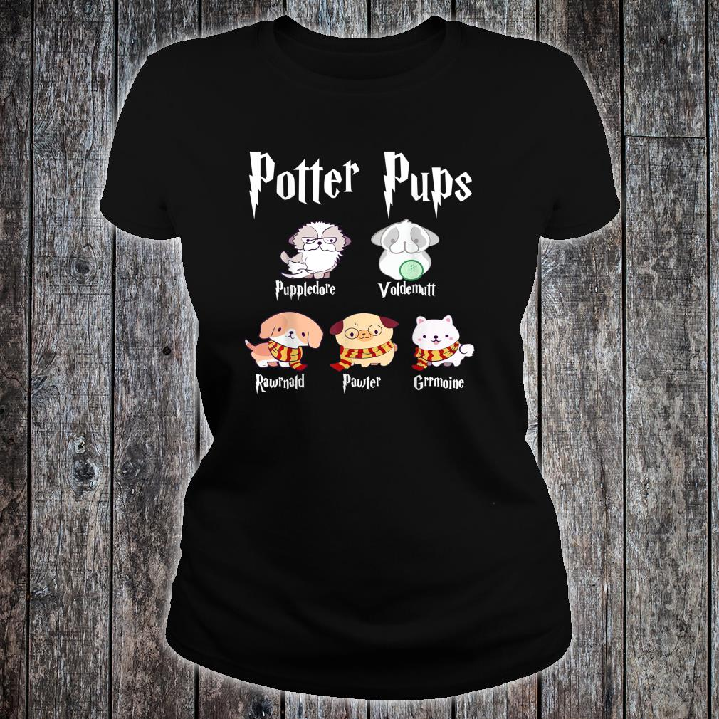 Potter Pups Harry Pawter Cute Puppy Dogs Shirt ladies tee