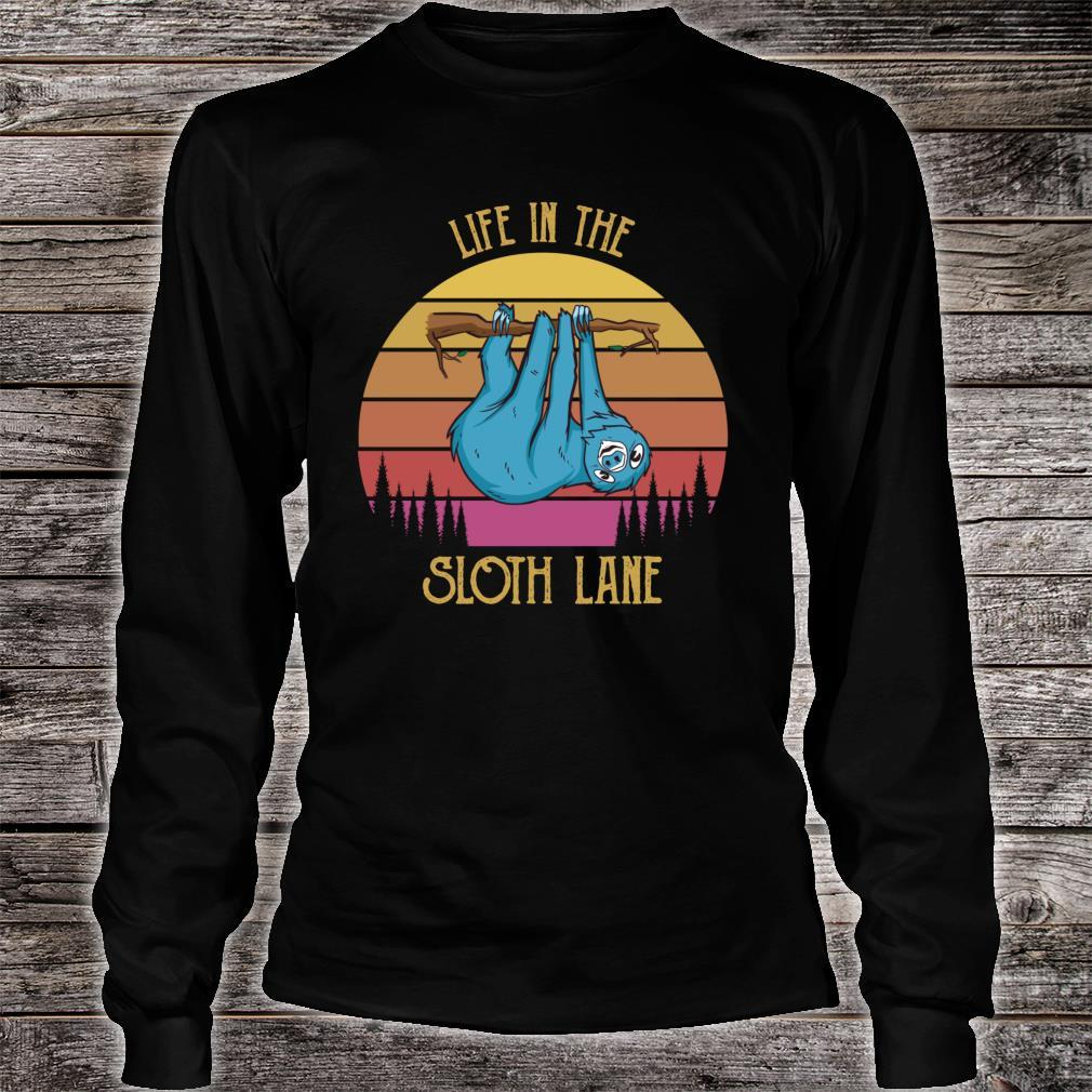 Retro Sunset Lazy Slow Chillin Life in the Sloth Lane Shirt long sleeved