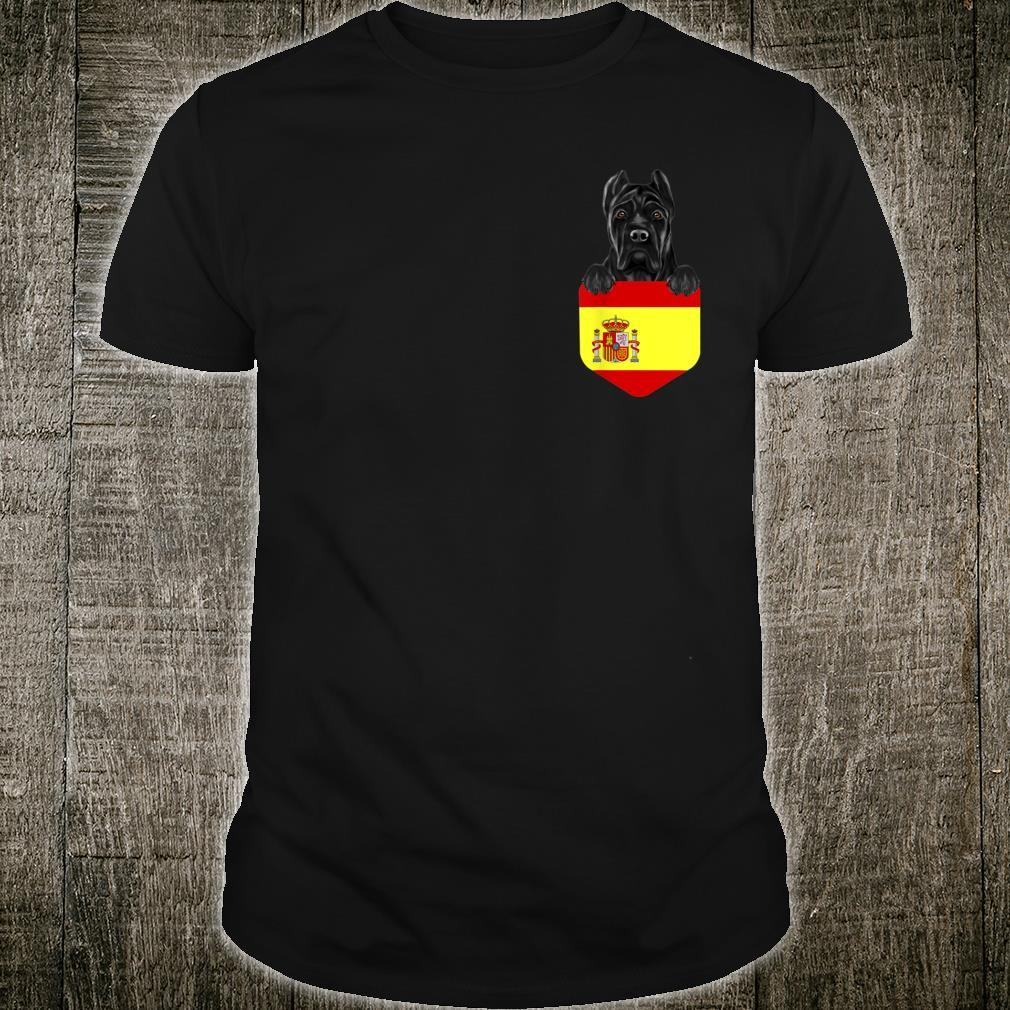 Spain Flag Cane Corso Dog In Pocket Shirt