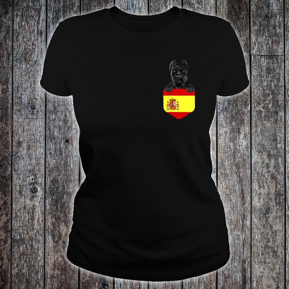 Spain Flag Cane Corso Dog In Pocket Shirt ladies tee