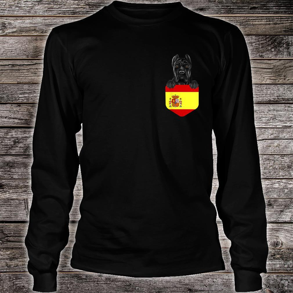 Spain Flag Cane Corso Dog In Pocket Shirt long sleeved