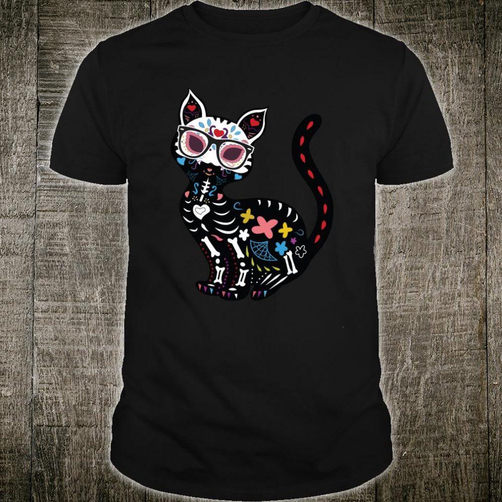 Sugar Skull Mexican Cat Halloween Shirt