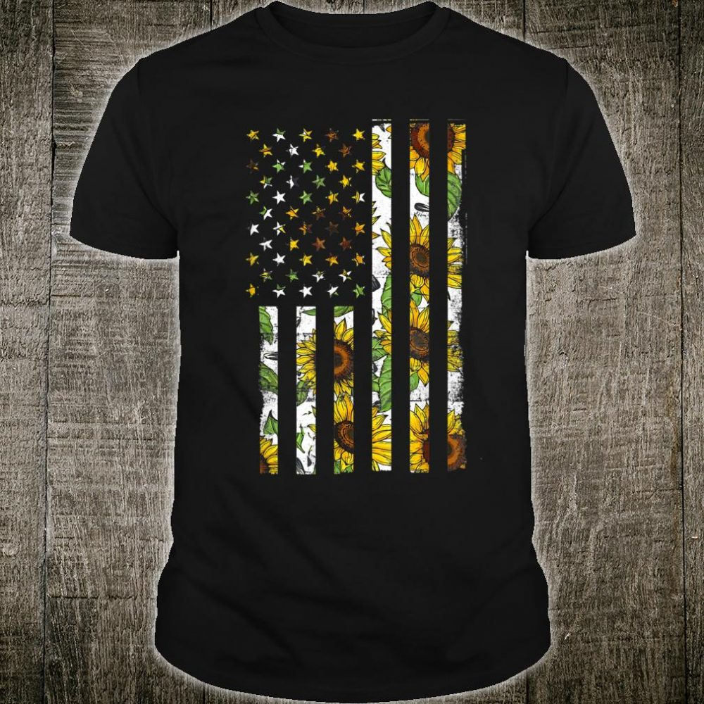 Sunflower Hippie American Flag July 4Th Shirt
