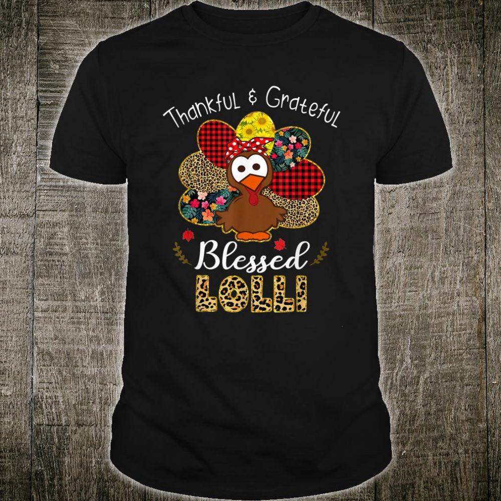 Thankful Grateful Blessed Lolli Leopard Turkey Thanksgiving Shirt