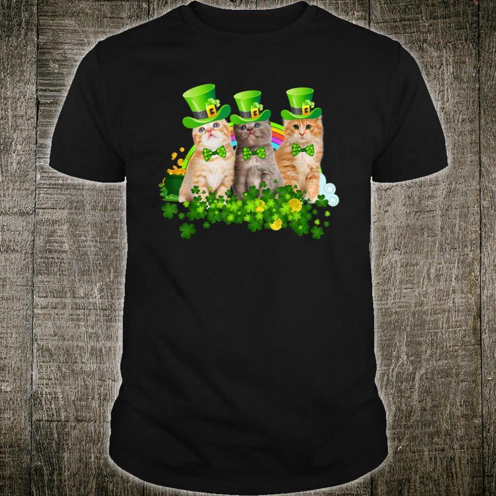 Three Cat Leprechaun Shamrock St Patricks Day Meowy Shirt