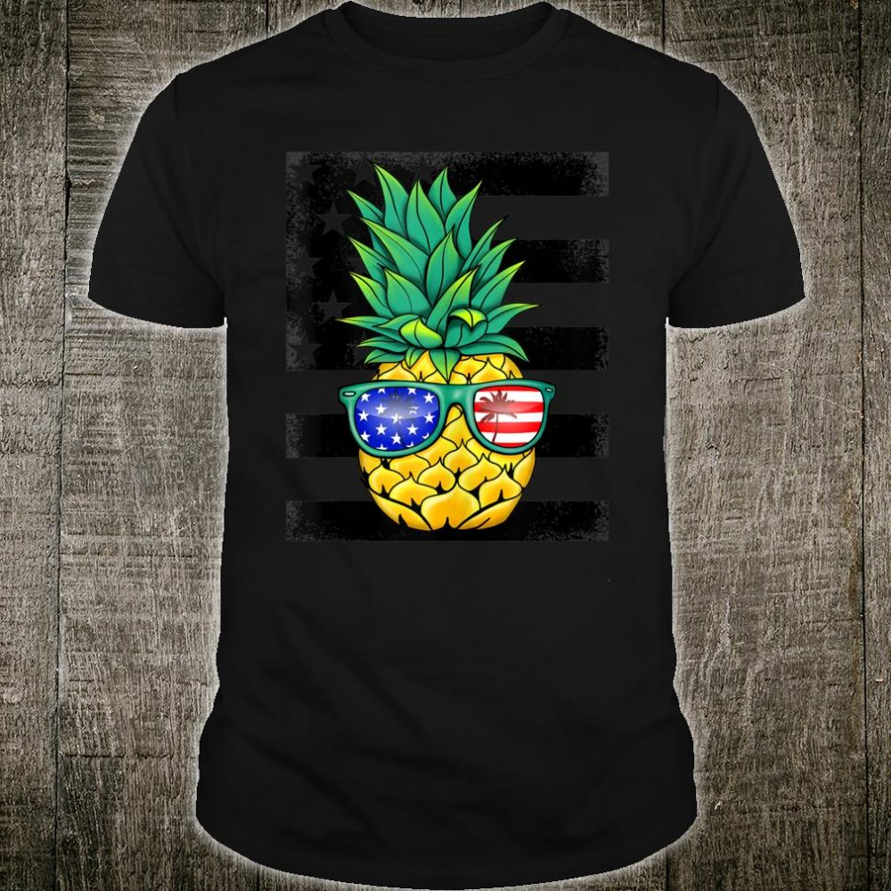 Tropical Hawaiian Pineapple American Flag Sunglasses Shirt