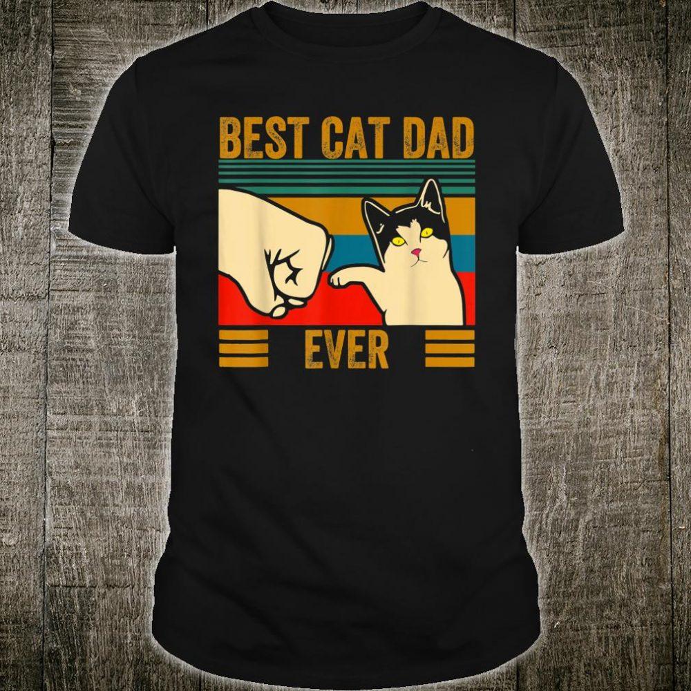 Vintage Best Cat Dad Ever Men Bump Fit Fathers Day Shirt