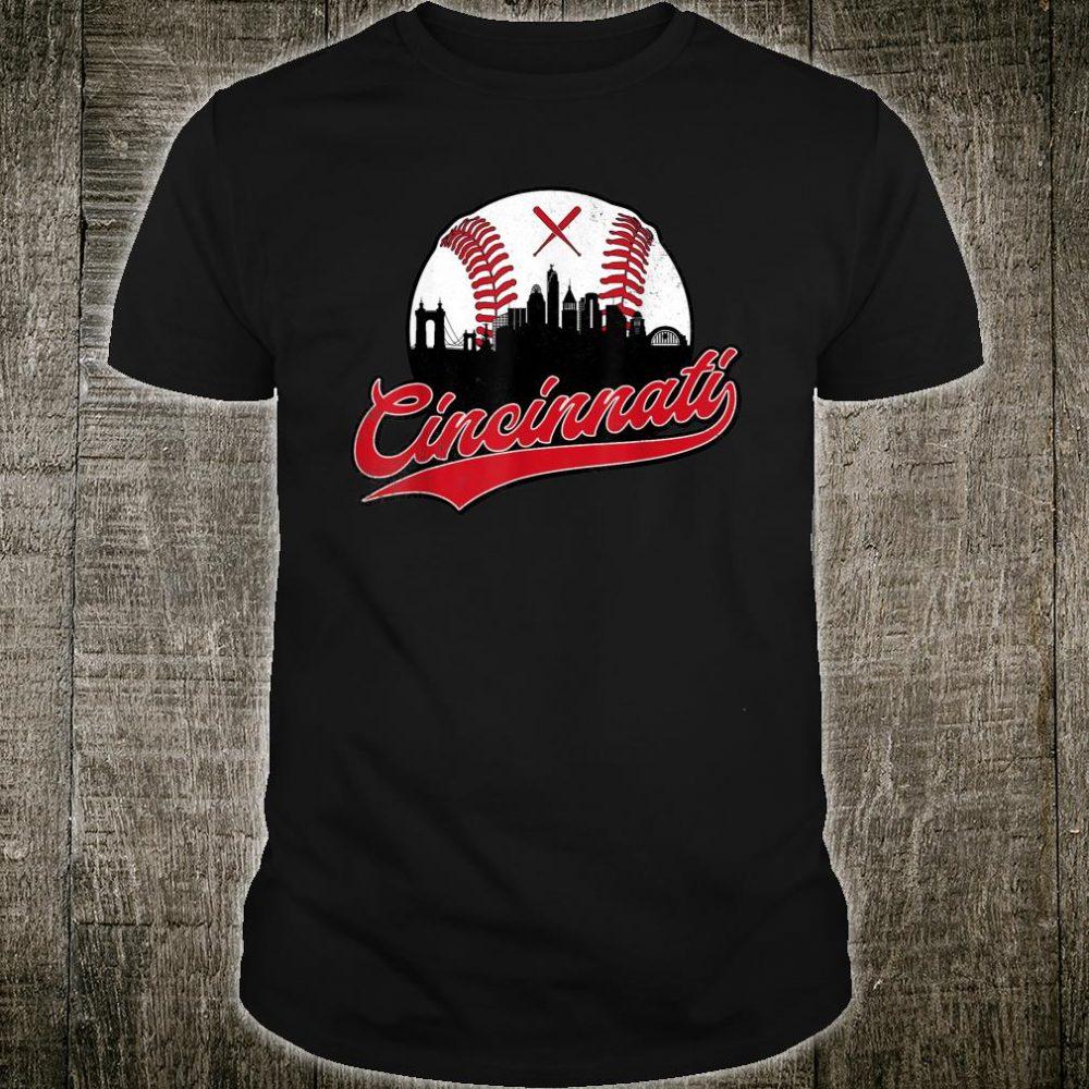 Vintage Cincinnati Baseball Skyline Retro Red Shirt