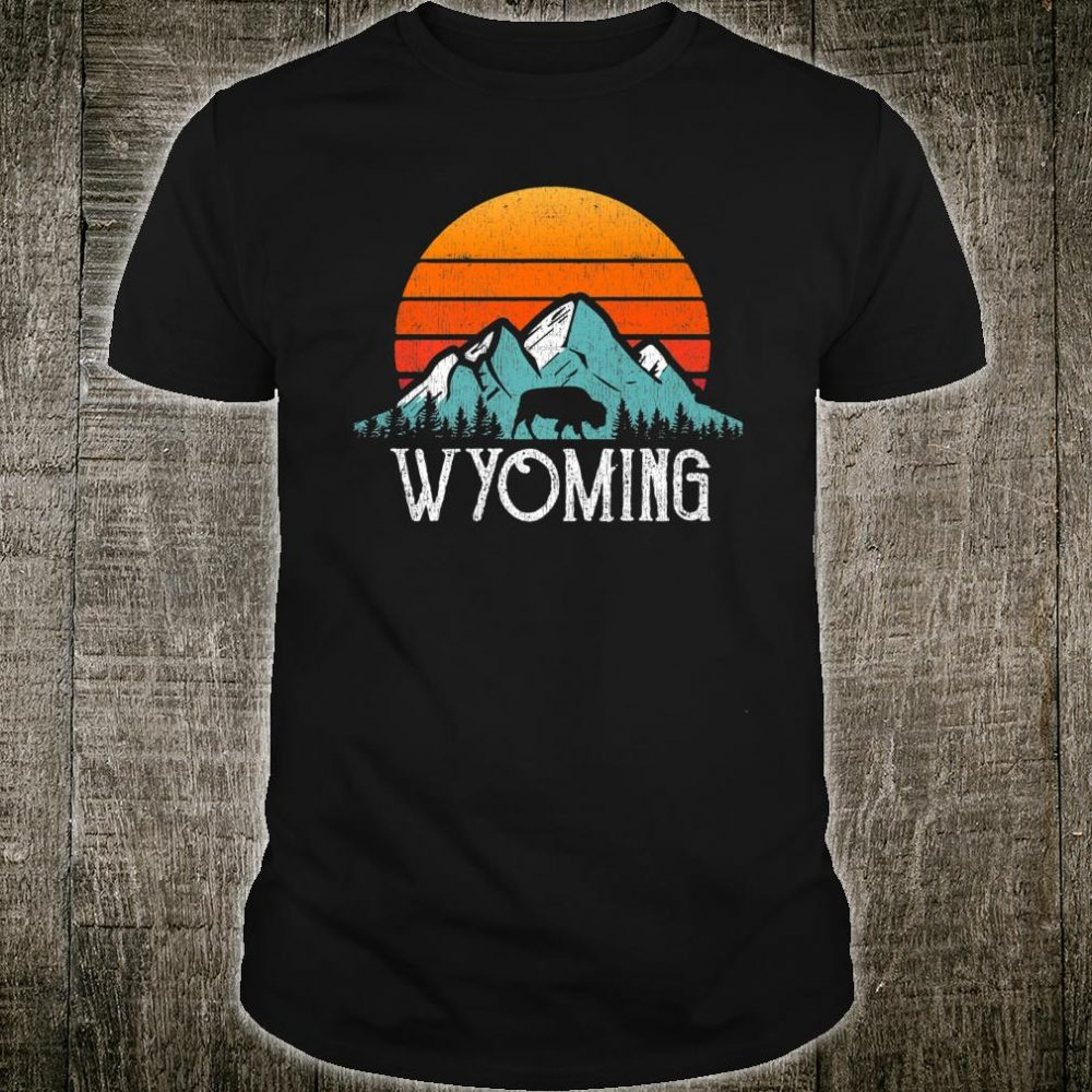 Wyoming WY Mountains State Wildlife Sunset Shirt
