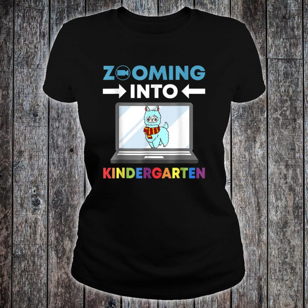Zooming Into Kindergarten Virtual Back to School 2020 Llama Shirt ladies tee